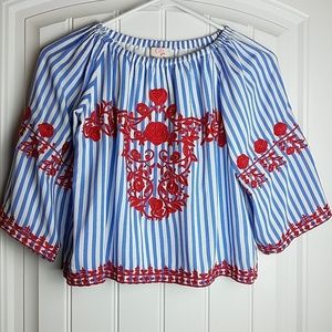 GB GIRLS lined off shoulder embroidered blouse